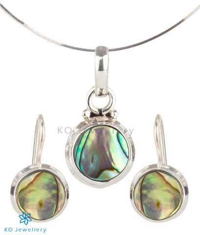 The Gulika Silver Abalone Pendant Set (Hook)