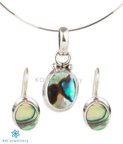 The Mukta Silver Abalone Pendant Set (Hook)