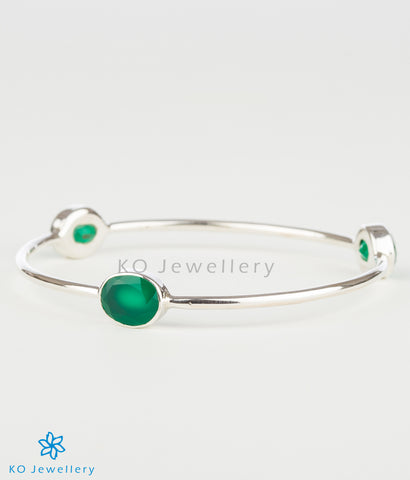 The Preksha Silver Bangle(Green)