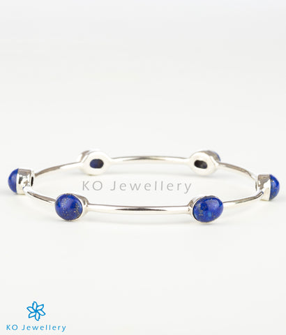 The Advaya Silver Bangle(Blue)