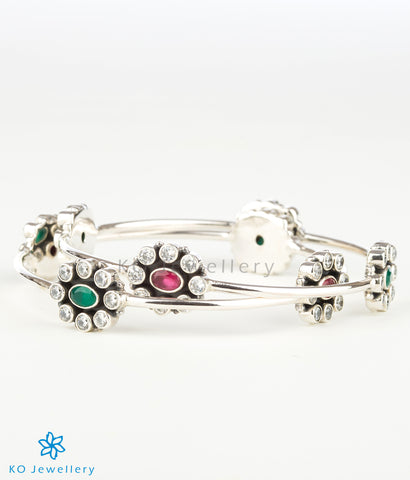 The Yukti  Silver Gemstone Bangle (Red/Green)
