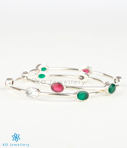 The Advaya Silver Bangle(Red/Green)