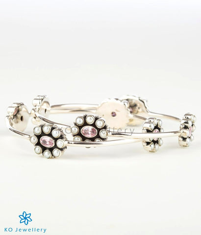 The Yukti  Silver Pearl Bangle (Pink)