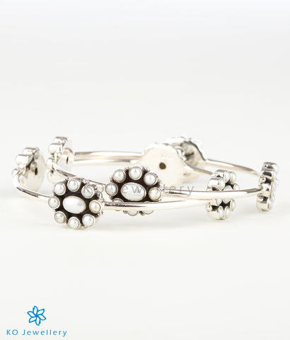 The Yukti  Silver Pearl Bangle