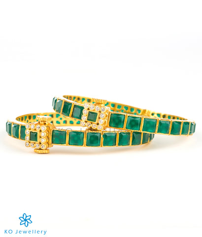 Stunning gold-plated silver bracelet with square stones
