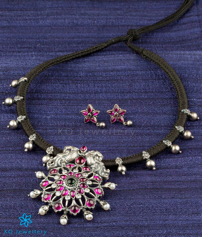 The Anulasya Antique Silver Peacock Necklace (Oxidised)