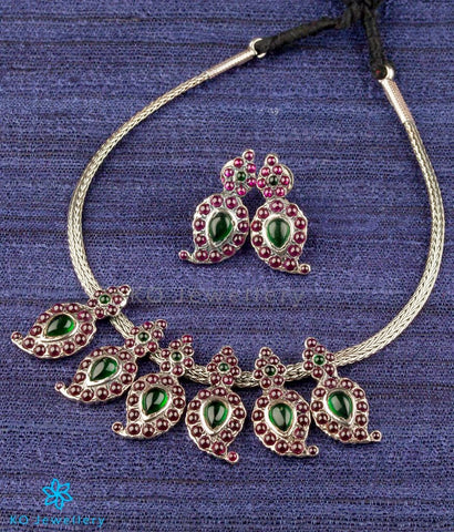 The Suvarna Manga Malai Necklace Set (Small/Oxidised)