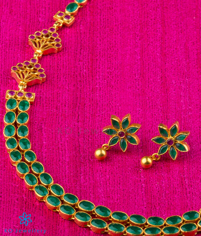 Two-layered gold dipped green kempu stone necklace