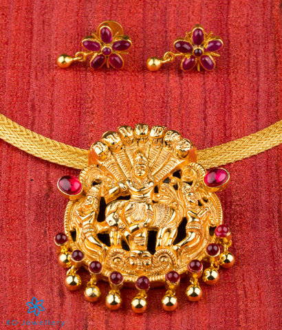 Gold plated silver temple jewellery Krishna motif