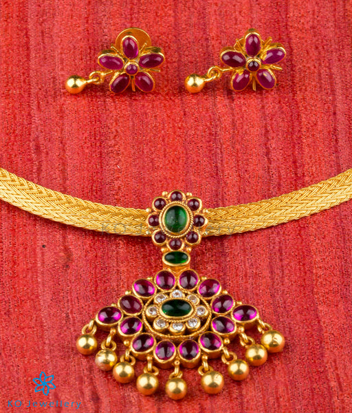 Top 25 Indian Antique Jewellery Designs For Women: Advaya Silver Kempu Pendant-Buy Silver Gold Plated