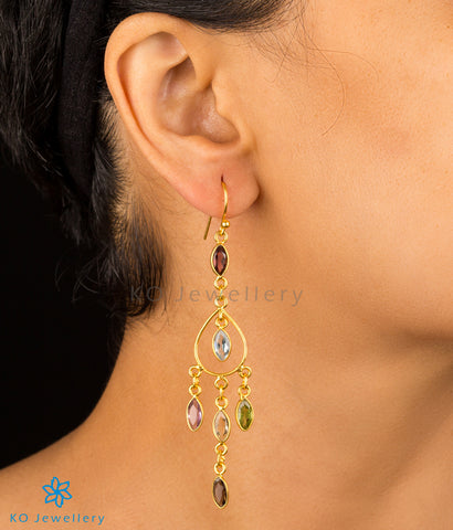 The Abhit Silver Gemstone Earrings(Gold)