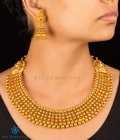 antique finish gold dipped choker with jhumkas