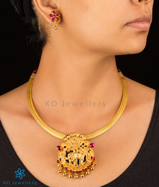 Gold plated silver temple jewellery set designs