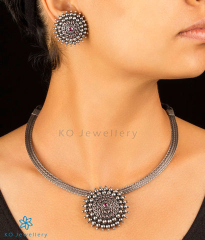 The Aditi Silver Necklace (Oxidised)