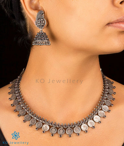 The Sindhuja Silver Kasu-mala Necklace(Oxidised)
