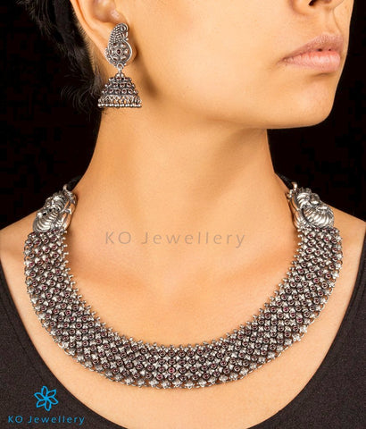 The Ahibhuj Antique Silver Peacock Necklace (Oxidised)