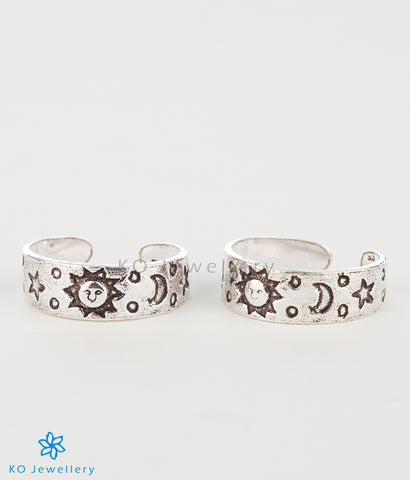 The Sun, Moon & Stars Silver Toe-Rings