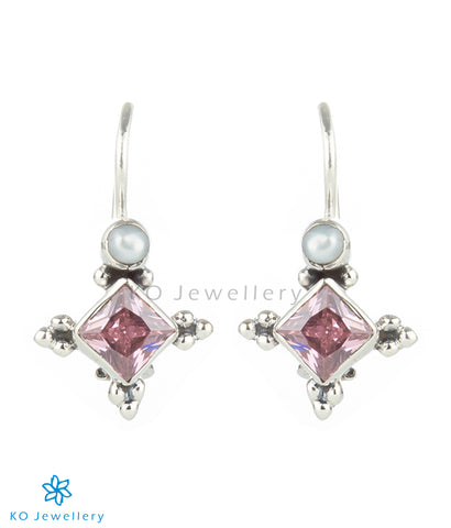 The Ahir Silver Gemstone Earrings(Pink)