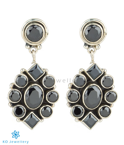 The Prawal Silver Gemstone Earrings (Black)