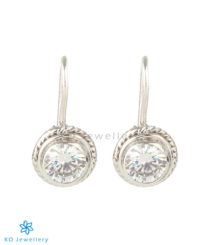 The Prisha Silver Gemstone Earrings(White/Hook)