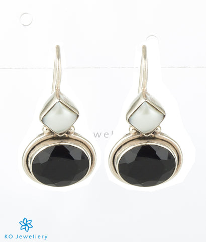 The Pahal Silver Gemstone Earrings-Black