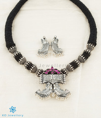The Matsyagandha Antique Silver Pendant(Oxidised)