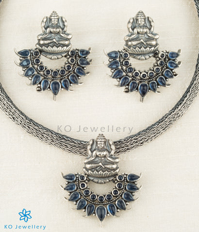 The Shreeja Silver Kempu Pendant Set(Oxidised)