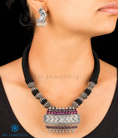 The Saket Antique Silver Pendant(Oxidised)