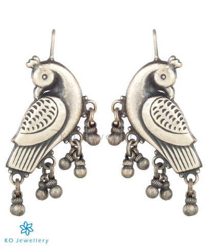 The Kira Silver Parrot Earrings (Oxidised)