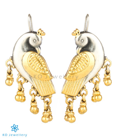 The Kira Silver Parrot Earrings(Two-tone)