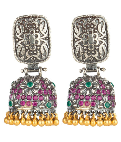 The Puspaka Silver Jhumka (Two-tone)