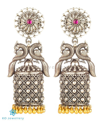 The Navilu Silver Peacock Jhumka (Two-tone)