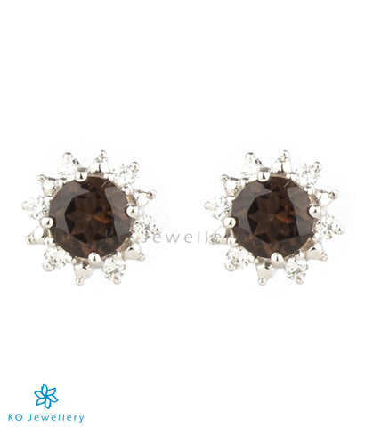 The Daisy Silver Ear-studs (Smoky Topaz/Black)
