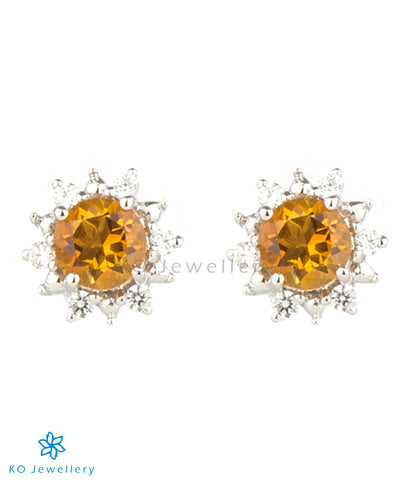 The Daisy Silver Ear-studs (Citrine)