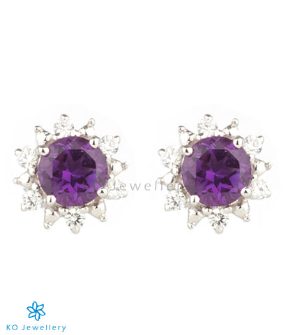 The Daisy Silver Ear-studs (Amethyst)