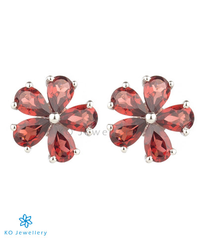 The Petunia Silver Ear-studs (Garnet/Red)