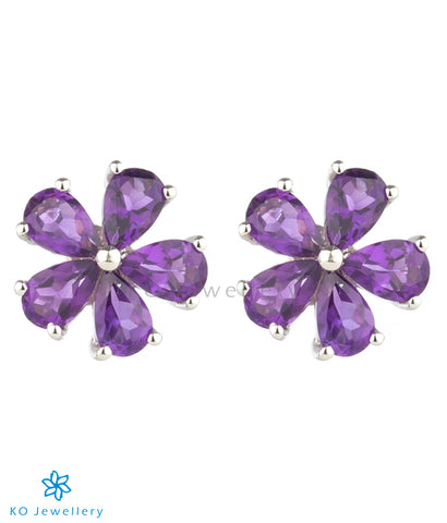 The Petunia Silver Ear-studs (Amethyst)