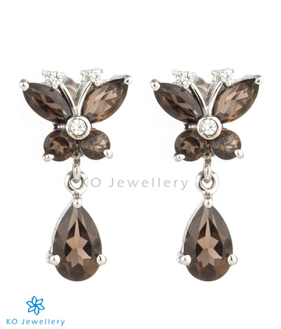 The Wings Silver Ear-studs (Smoky Topaz/Black)