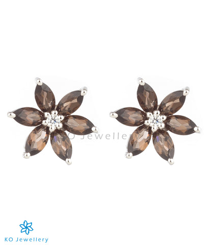 The Daffodils Silver Ear-studs (Smoky Topaz/Black)