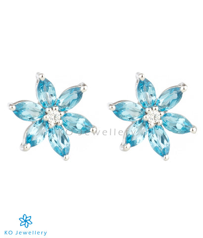 The Daffodils Silver Ear-studs (Blue Topaz)