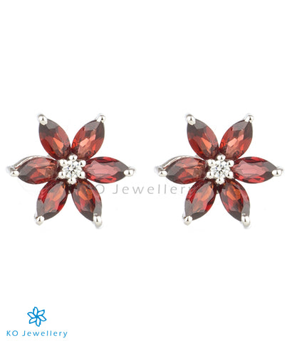 The Daffodils Silver Ear-studs (Garnet/Red)