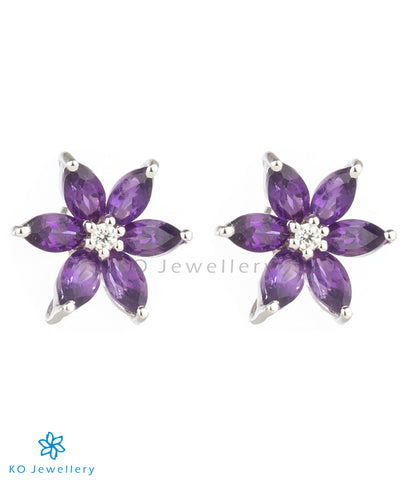 The Daffodils Silver Ear-studs (Amethyst)