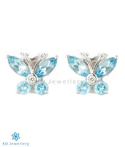 The Butterfly Silver Ear-studs (Blue Topaz)