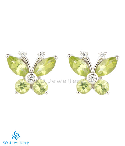 The Butterfly Silver Ear-studs (Peridot)