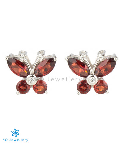 The Butterfly Silver Ear-studs (Garnet/Red)