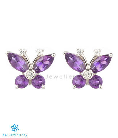 The Butterfly Silver Ear-studs (Amethyst)