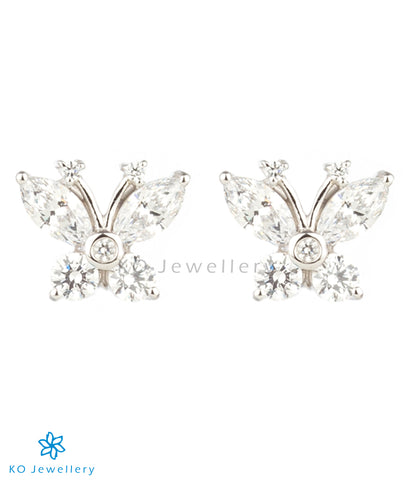 The Butterfly Silver Ear-studs (White)