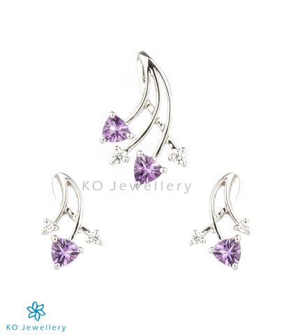 The Fern Silver Pendant Set (Amethyst)