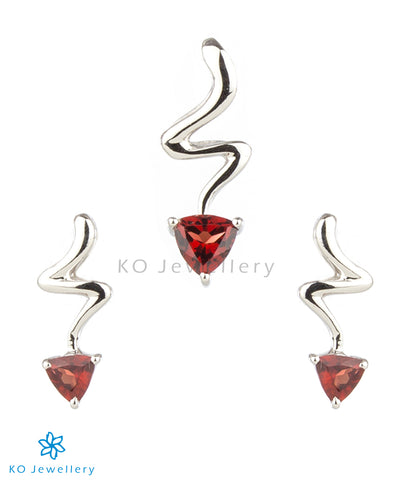The Fiona Silver Pendant Set (Garnet)