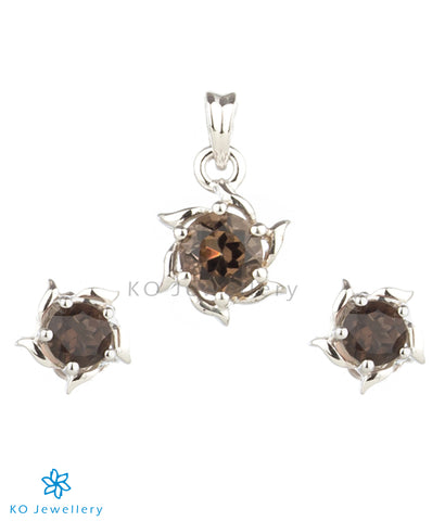 The Solitaire Silver Pendant Set (Smoky Topaz/Black)